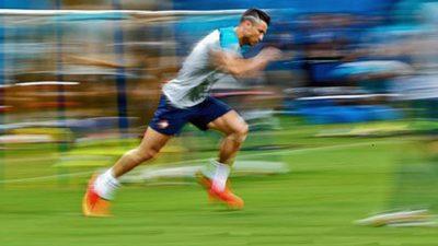 Footballer Training Hard